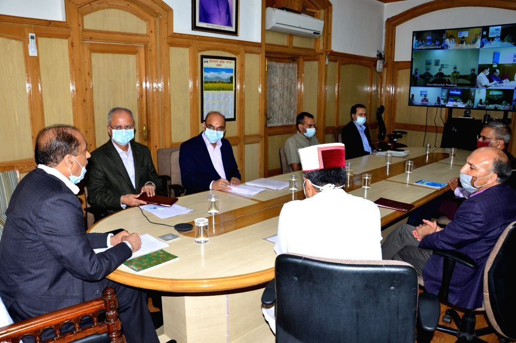 Himachal Pradesh Chief Minister Jai Ram Thakur presides over a meeting with the Deputy Commissioners, Superintendents of Police and Chief Medical Officers through video conferencing from ... - Jai Ram Thakur