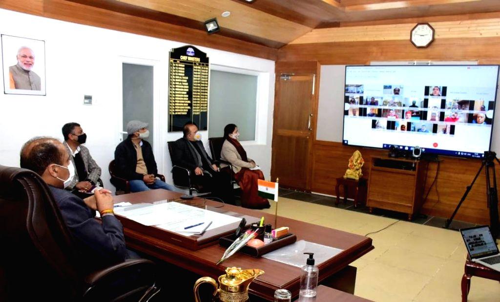 Himachal Pradesh Chief Minister Jai Ram Thakur addresses a webinar on the occasion of National Press Day, in Shimla on Nov 16, 2020. - Jai Ram Thakur