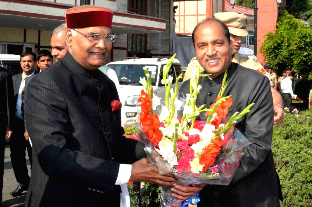 Himachal Pradesh Chief Minister Jai Ram Thakur receives President Ram Nath Kovind at a civic reception hosted by the state government at Peterhoff in Shimla on May 22, 2018. - Jai Ram Thakur and Nath Kovind