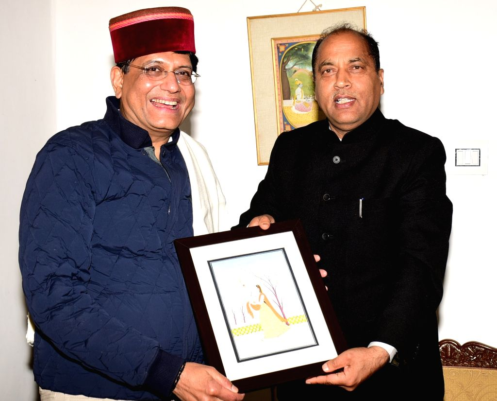 Himachal Pradesh Chief Minister Jai Ram Thakur meets Union Railways Minister Piyush Goyal in Shimla, on Dec 1, 2018. - Jai Ram Thakur
