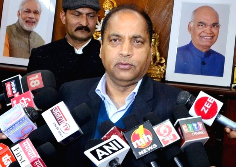 Himachal Pradesh Chief Minister Jai Ram Thakur talks to media persons regarding the interim budget 2019, in Shimla on Feb 1, 2019. - Jai Ram Thakur