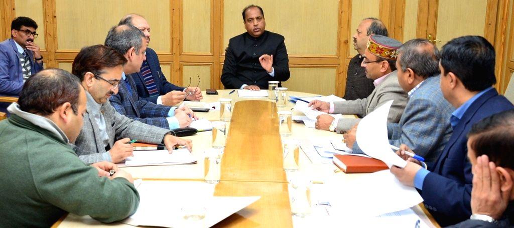 Himachal Pradesh Chief Minister Jai Ram Thakur chairs a meeting regarding measures to check spread of Swine Flu in Shimla, on Feb 2, 2019. - Jai Ram Thakur