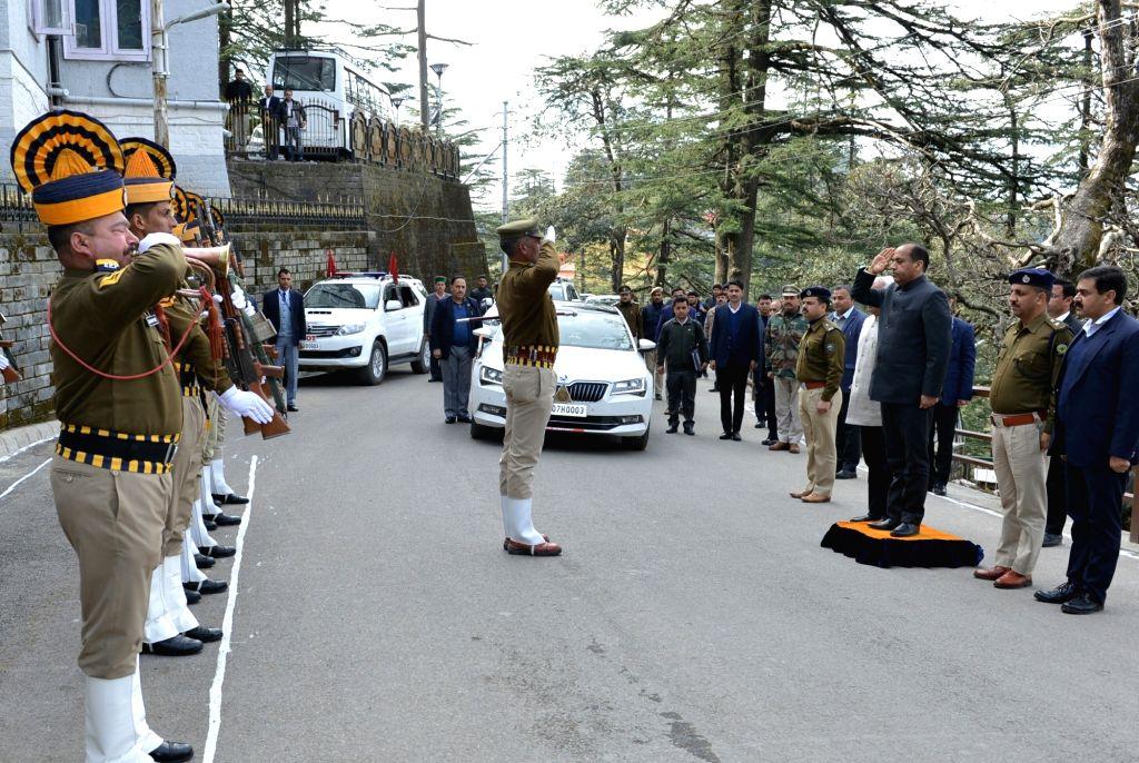 Himachal Pradesh Chief Minister Jai Ram Thakur arrives at the state assembly in Shimla, on Feb 4, 2019. - Jai Ram Thakur