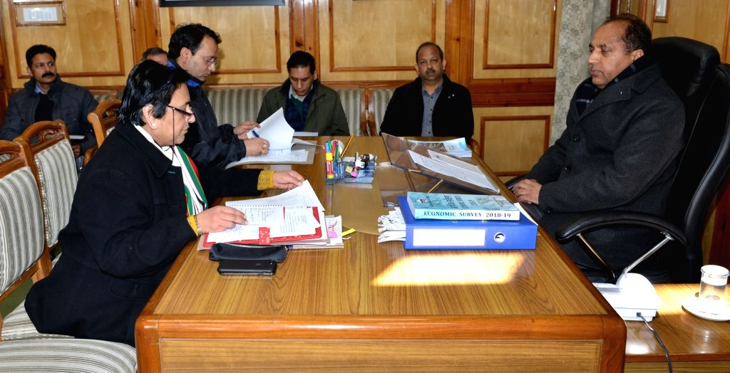Himachal Pradesh Chief Minister Jai Ram Thakur presides over a meeting with senior officers of the state government to review the situation arisen due to heavy snow fall in the state, in ... - Jai Ram Thakur
