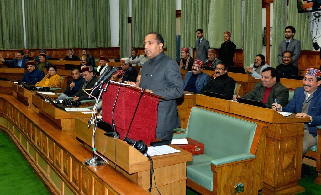Himachal Pradesh Chief Minister Jai Ram Thakur presents the state budget 2019-20 at the state assembly, in Shimla, on Feb 9, 2019. - Jai Ram Thakur