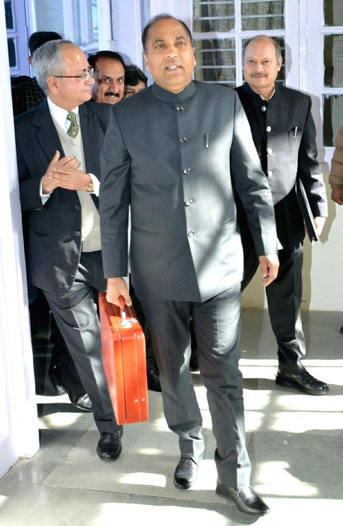 Himachal Pradesh Chief Minister Jai Ram Thakur arrives to present the state budget for 2019-20 at the state assembly, in Shimla, on Feb 9, 2019. - Jai Ram Thakur