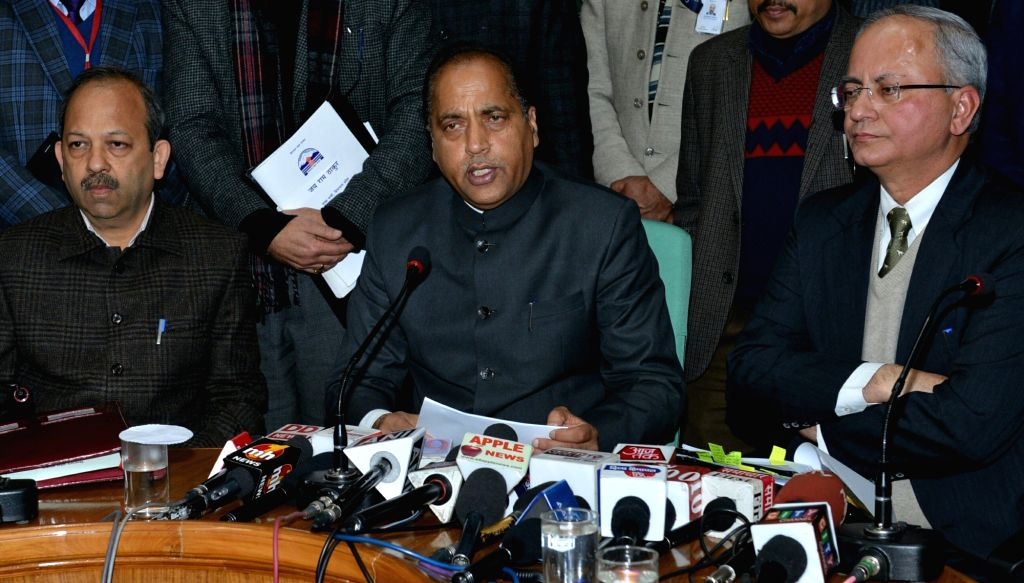 Himachal Pradesh Chief Minister Jai Ram Thakur addresses a press conference after presenting the state budget for 2019-20 at the state assembly, in Shimla, on Feb 9, 2019. - Jai Ram Thakur