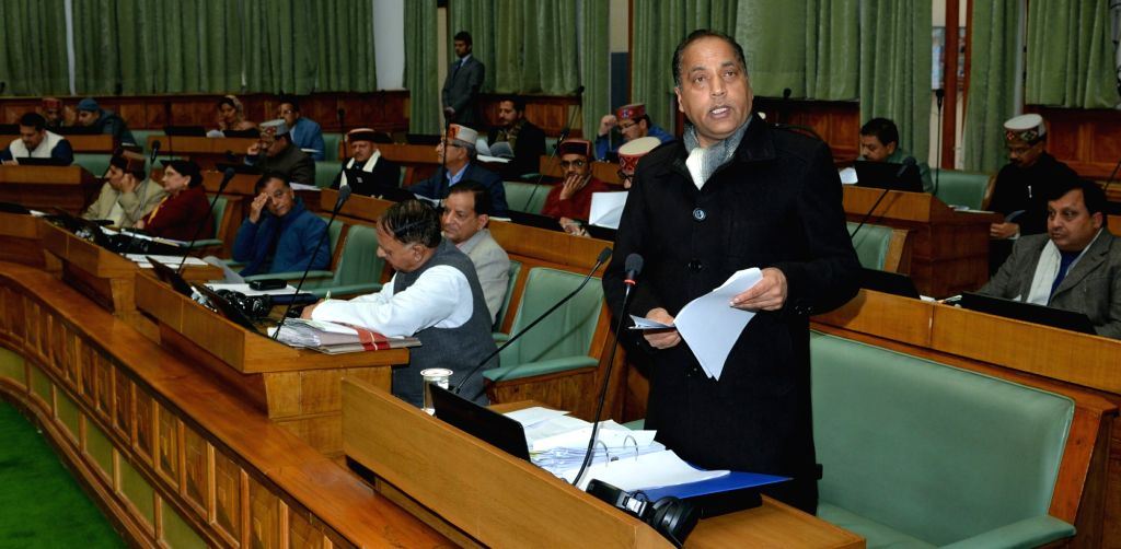 Himachal Pradesh Chief Minister Jai Ram Thakur addresses in the state assembly in Shimla on Feb 11, 2019. - Jai Ram Thakur
