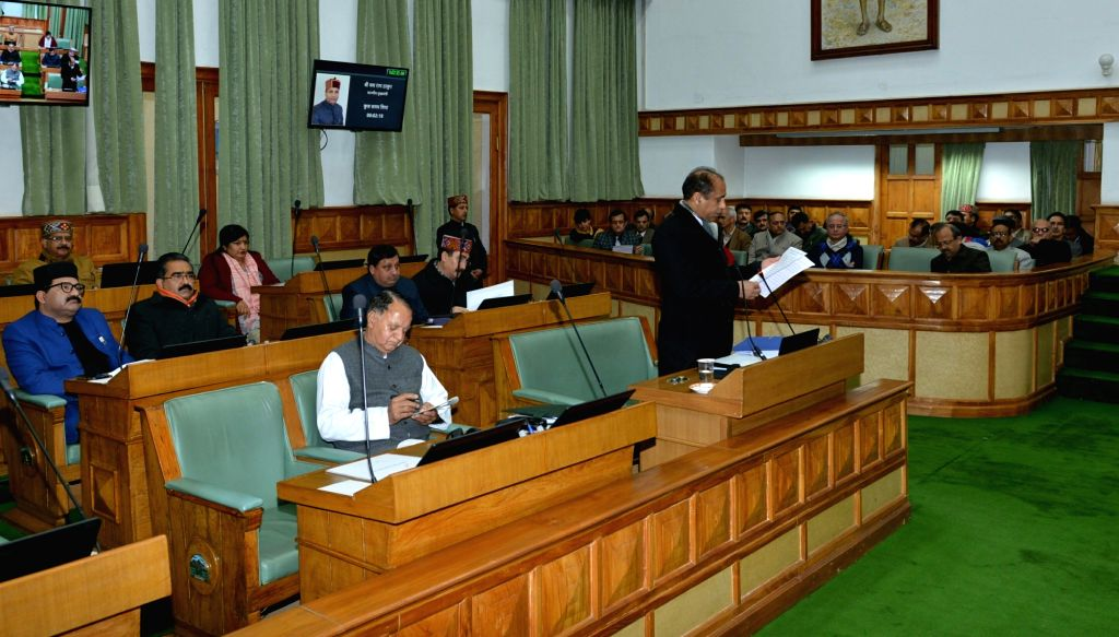 Himachal Pradesh Chief Minister Jai Ram Thakur addresses in the state assembly during budget session in Shimla on Feb 15, 2019. - Jai Ram Thakur
