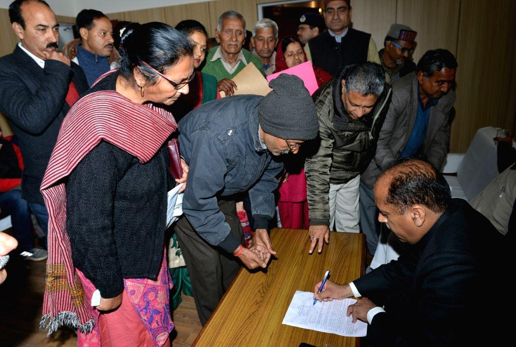 Himachal Pradesh Chief Minister Jai Ram Thakur listens to public grievances in Bilaspur, Himachal Pradesh on Feb 19, 2019. - Jai Ram Thakur