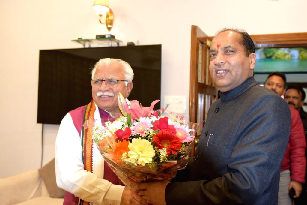 Himachal Pradesh Chief Minister Jai Ram Thakur meets Haryana Chief Minister Manohar Lal Khattar in Chandigarh on March 3, 2019. - Jai Ram Thakur and Manohar Lal Khattar