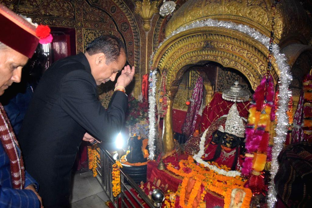 Himachal Pradesh Chief Minister Jai Ram Thakur offers prayer at Tarna Temple in Mandi, Himachal Pradesh, on March 5, 2019. - Jai Ram Thakur