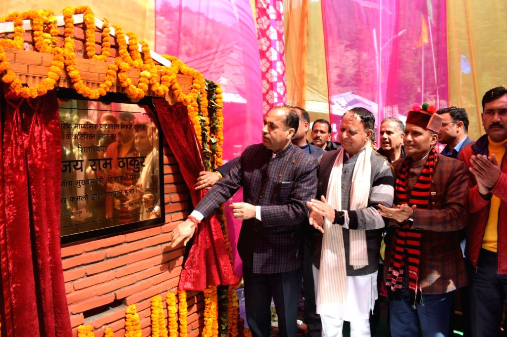 Himachal Pradesh Chief Minister Jai Ram Thakur unveils the plaque to inaugurate water supply scheme for Seraj Constituency in Mandi, on March 6, 2019. - Jai Ram Thakur
