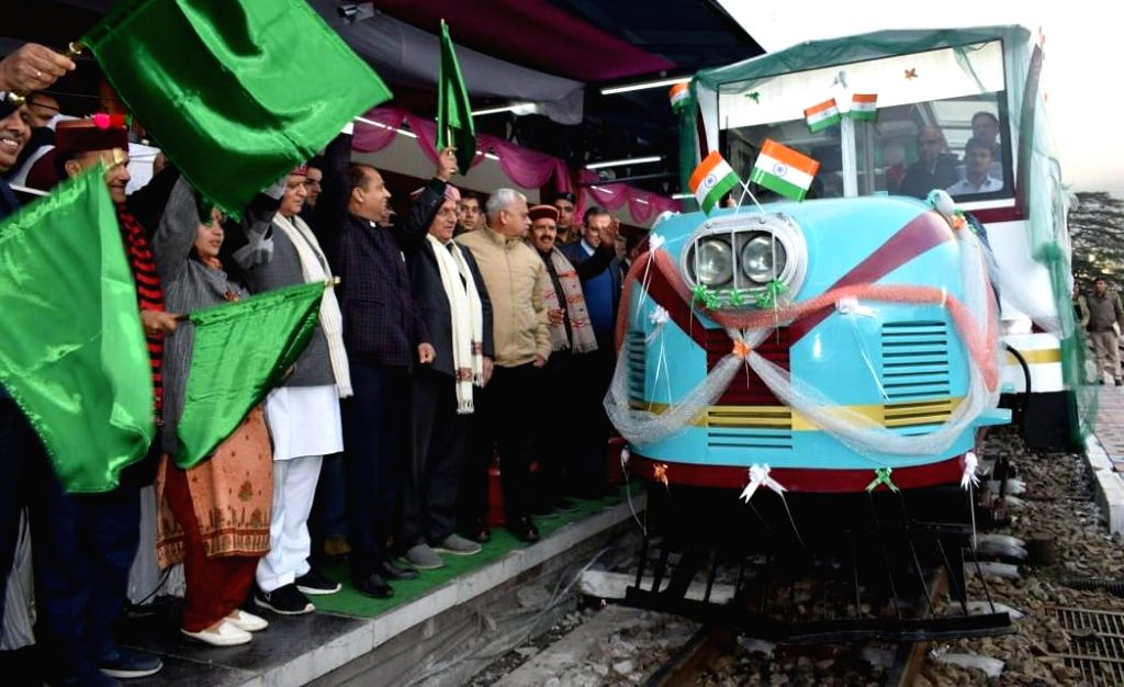 Himachal Pradesh Chief Minister Jai Ram Thakur flags off Vistadom coach in Shimla on March 6, 2019. - Jai Ram Thakur