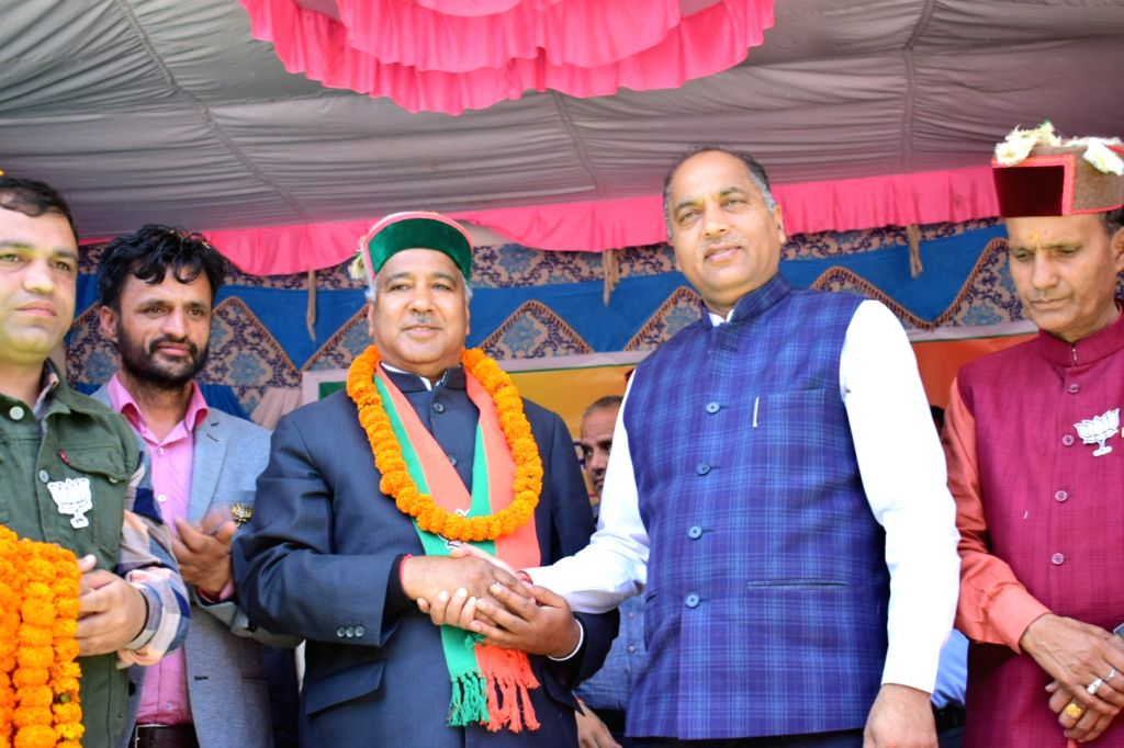 Himachal Pradesh Chief Minister Jai Ram Thakur during a public rally at Nankhari in Shimla's Rampur, on April 27, 2019. - Jai Ram Thakur
