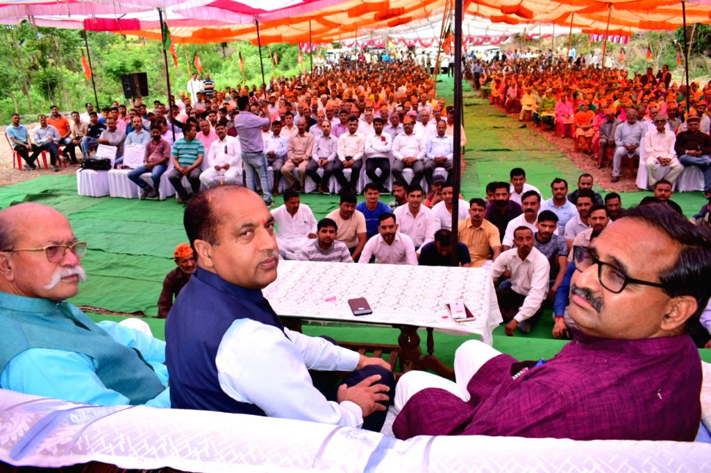 Himachal Pradesh Chief Minister Jai Ram Thakur during a public rally at Kharsi in Sri Naina Deviji Assembly constituency of Himachal Pradesh's Bilaspur district, on May 1, 2019. - Jai Ram Thakur