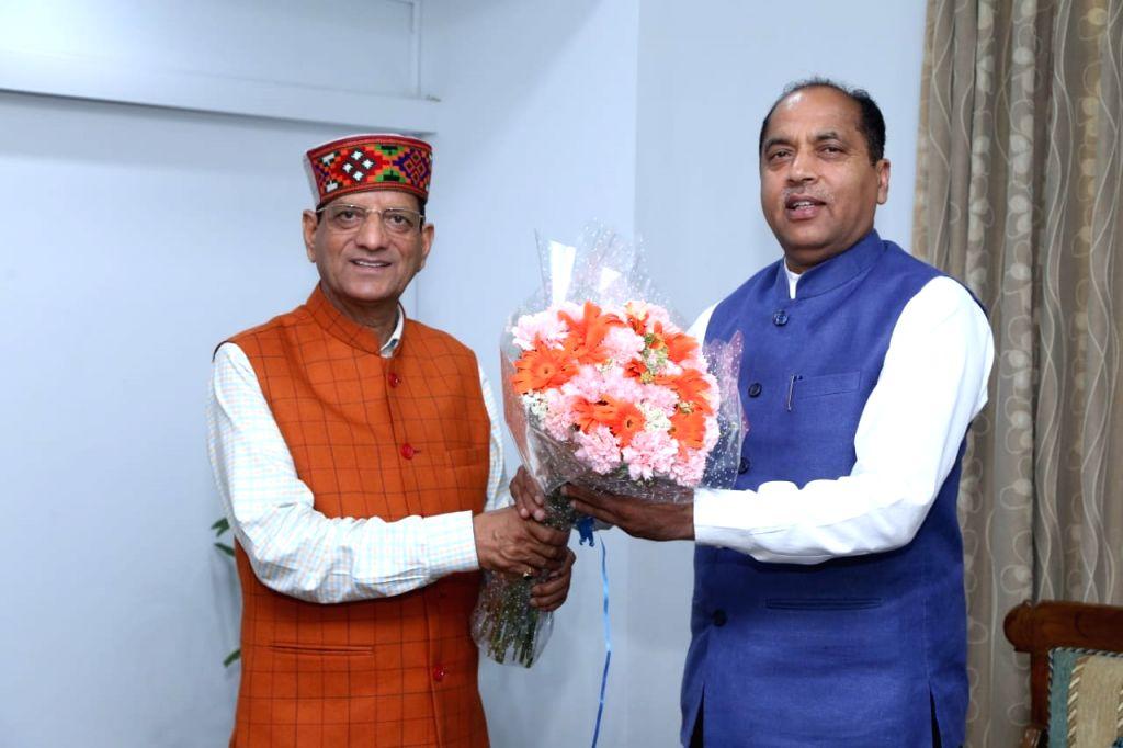 Himachal Pradesh Chief Minister Jai Ram Thakur meets the newly elected MP from Kangra, Kishan Kapoor in New Delhi on May 25, 2019. - Jai Ram Thakur and Kishan Kapoor
