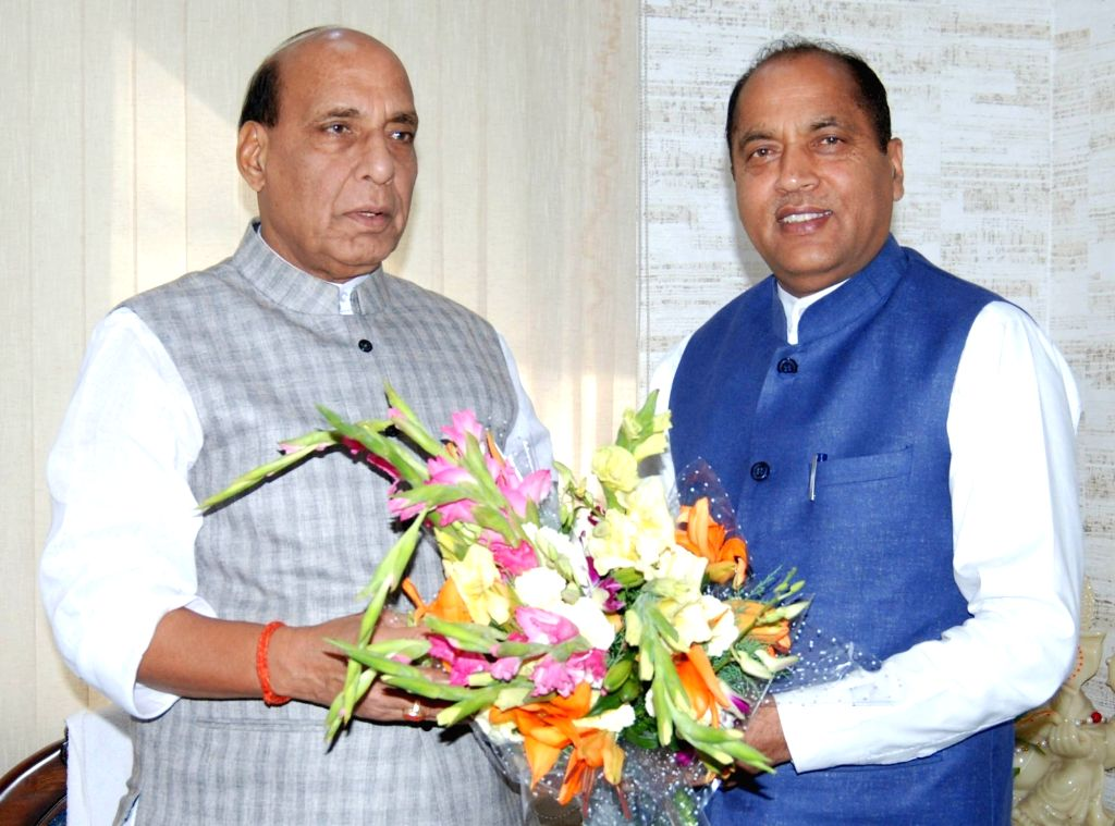 Himachal Pradesh Chief Minister Jai Ram Thakur meets Defence Minister Rajnath Singh in New Delhi on June 8, 2019. The Chief Minister congratulated him on assuming the charge of the ... - Jai Ram Thakur and Rajnath Singh