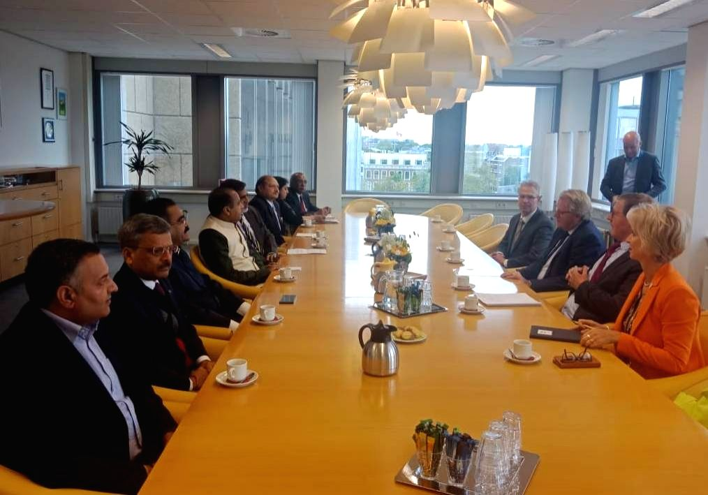 Himachal Pradesh Chief Minister Jai Ram Thakur during a meeting with Jan-Kees Goet, Netherlands Secretary General at Ministry of Agriculture, Nature and Food Quality on co-operation in the ... - Jai Ram Thakur