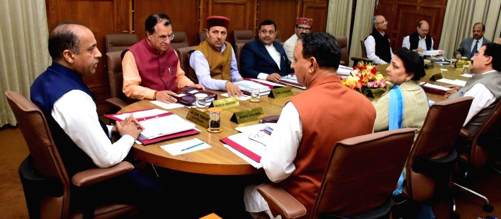 Himachal Pradesh Chief Minister Jai Ram Thakur presides over a Cabinet meeting, in Shimla on July 16, 2019. - Jai Ram Thakur