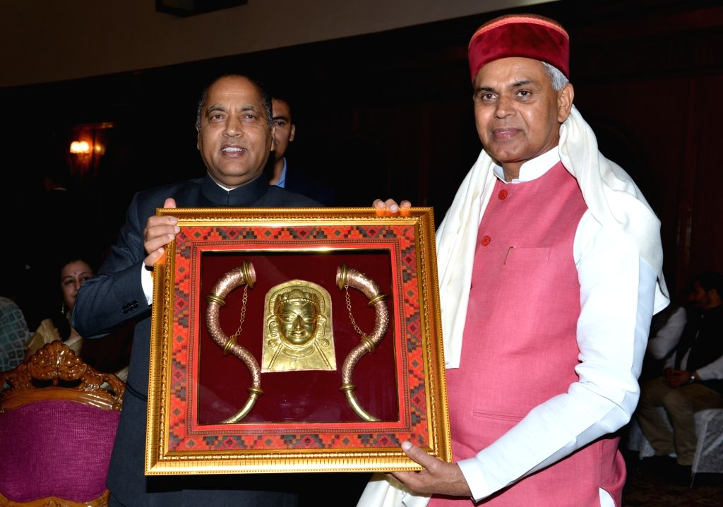 Himachal Pradesh Chief Minister Jai Ram Thakur felicitates Governor Acharya Devvrat who has now been appointed as Governor of Gujarat, at a dinner hosted by the CM for the Governor, at ... - Jai Ram Thakur