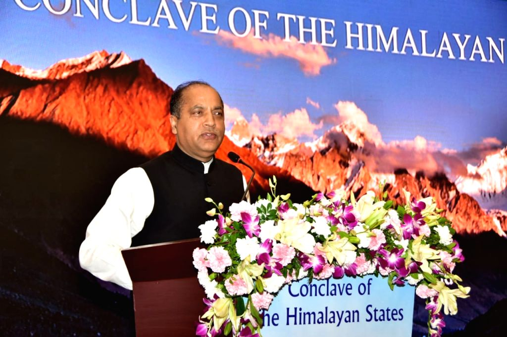 Himachal Pradesh Chief Minister Jai Ram Thakur addresses at the Conclave of the Himalayan States in Mussoorie on July 28, 2019. - Jai Ram Thakur