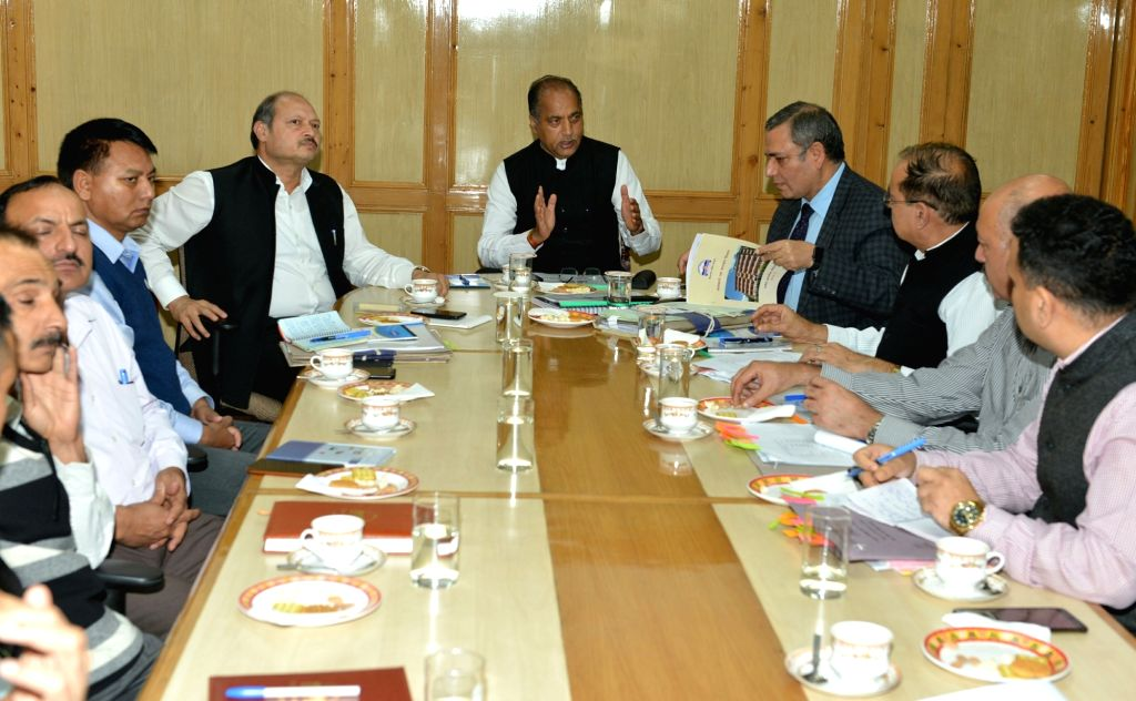 Himachal Pradesh Chief Minister Jai Ram Thakur chairs a review meeting with the State Excise and Taxation Department, in Shimla on Aug 9, 2019. - Jai Ram Thakur