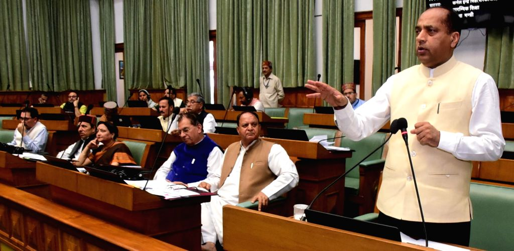 Himachal Pradesh Chief Minister Jai Ram Thakur addresses during the Monsoon Session of the state assembly in Shimla on Aug 28, 2019. - Jai Ram Thakur