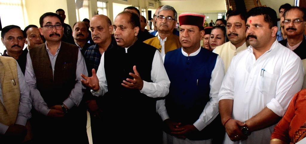 Himachal Pradesh Chief Minister Jai Ram Thakur talks to the media after Prime Minisdter Narendra Modi launched a nation-wide 'Fit India Movement', at the Himachal Pradesh Assembly in Shimla ... - Jai Ram Thakur and Minisdter Narendra Modi
