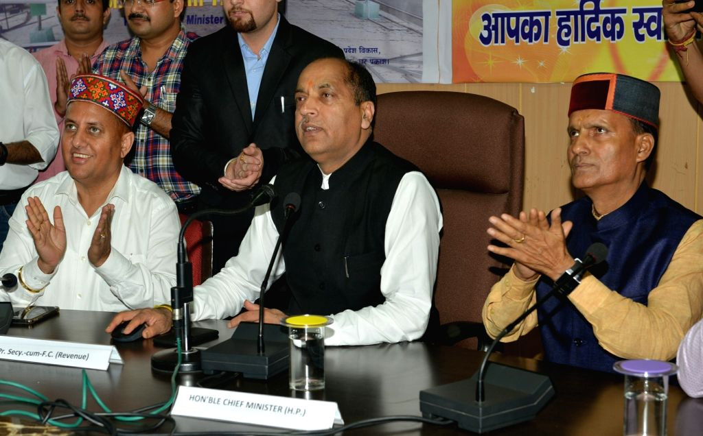 Himachal Pradesh Chief Minister Jai Ram Thakur rolls out the Online Module of permissions under Section 118 of HP Tenancy and Land Reforms Act 1972 from Mandi, in Shimla on Sep 22, 2019. - Jai Ram Thakur