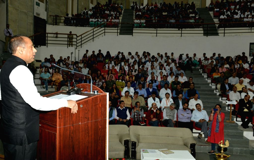 Himachal Pradesh Chief Minister Jai Ram Thakur addresses during a programme organised on completion of one year of implementation of Ayushmaan Bharat Pradhan Mantri Jan Arogya Yojna ... - Jai Ram Thakur