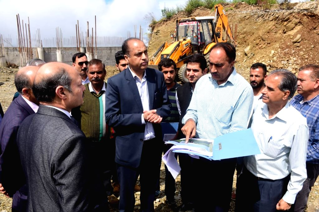 Himachal Pradesh Chief Minister Jai Ram Thakur during his visit to inspect the under construction heliport near Sanjauli in Shimla on Sep 27, 2019. - Jai Ram Thakur