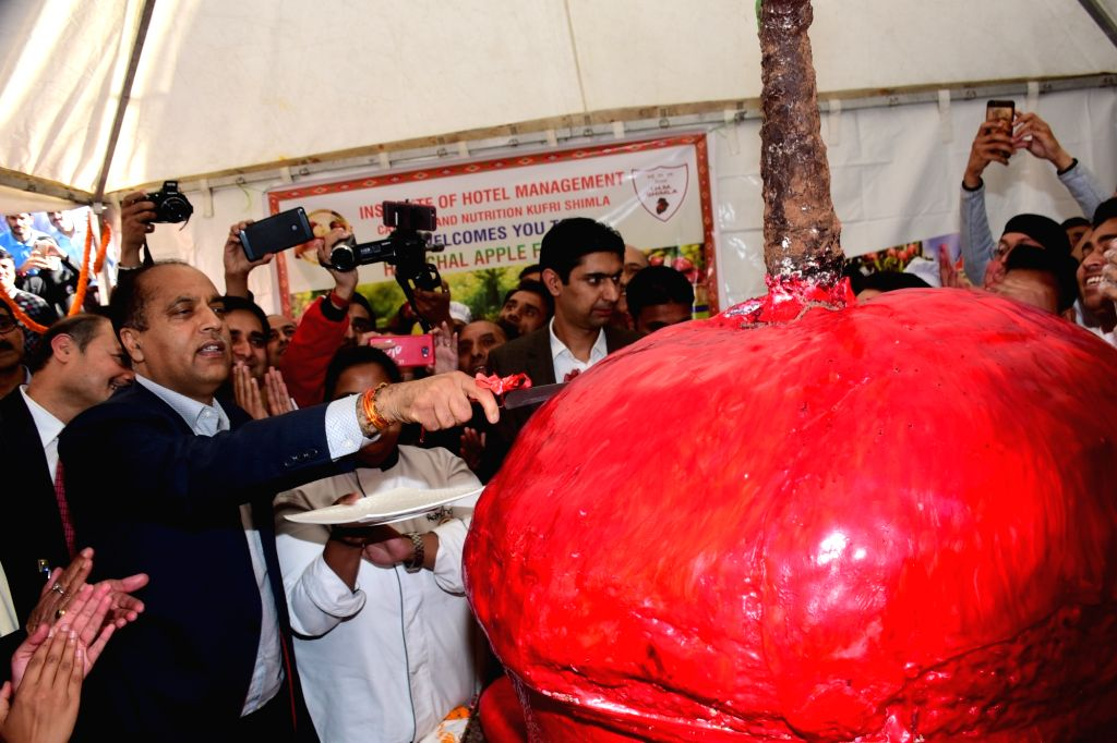 Himachal Pradesh Chief Minister Jai Ram Thakur cuts a 4.5-foot high apple cake weighing over 200 kg prepared by the Tourism Department at the inauguration of Himachal Apple Festival in ... - Jai Ram Thakur