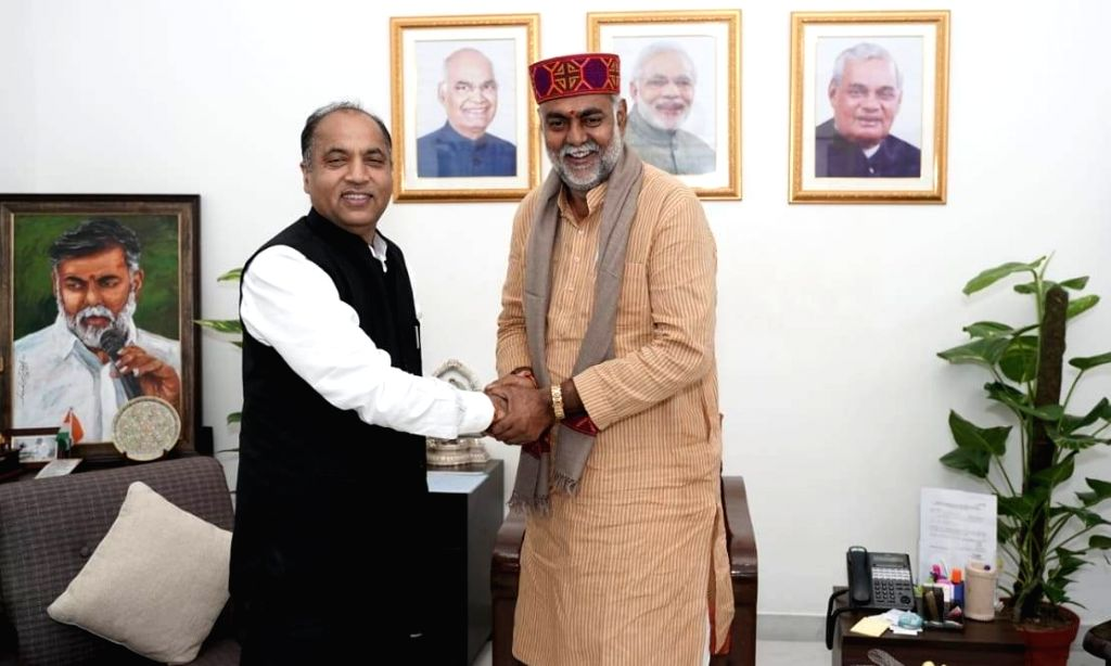 Himachal Pradesh Chief Minister Jai Ram Thakur meets Union MoS (Independent Charge) Tourism and Culture Prahlad Singh Patel in New Delhi on Oct 7, 2019. - Jai Ram Thakur and Prahlad Singh Patel