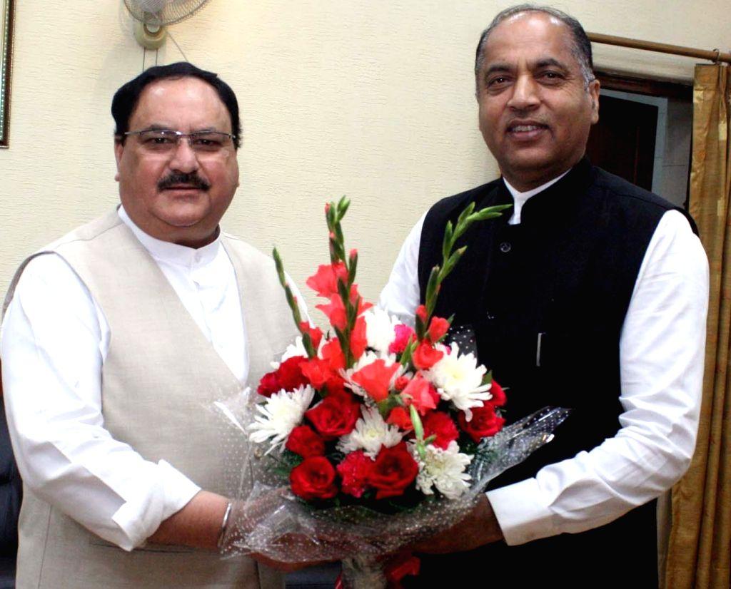 Himachal Pradesh Chief Minister Jai Ram Thakur meets BJP National Working President J.P. Nadda in New Delhi on Oct 7, 2019. - Jai Ram Thakur