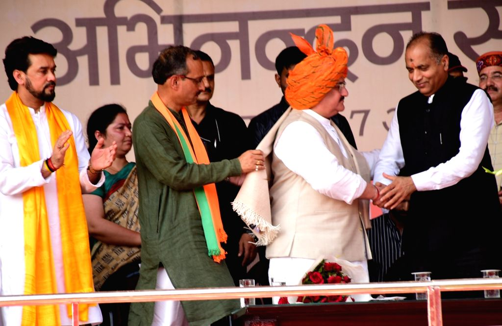 "Himachal Pradesh Chief Minister Jai Ram Thakur greets BJP National Working President J.P. Nadda during ""Abhinandan Samaroh"" organised to welcome the latter, at Luhnu Ground in ... - Jai Ram Thakur"