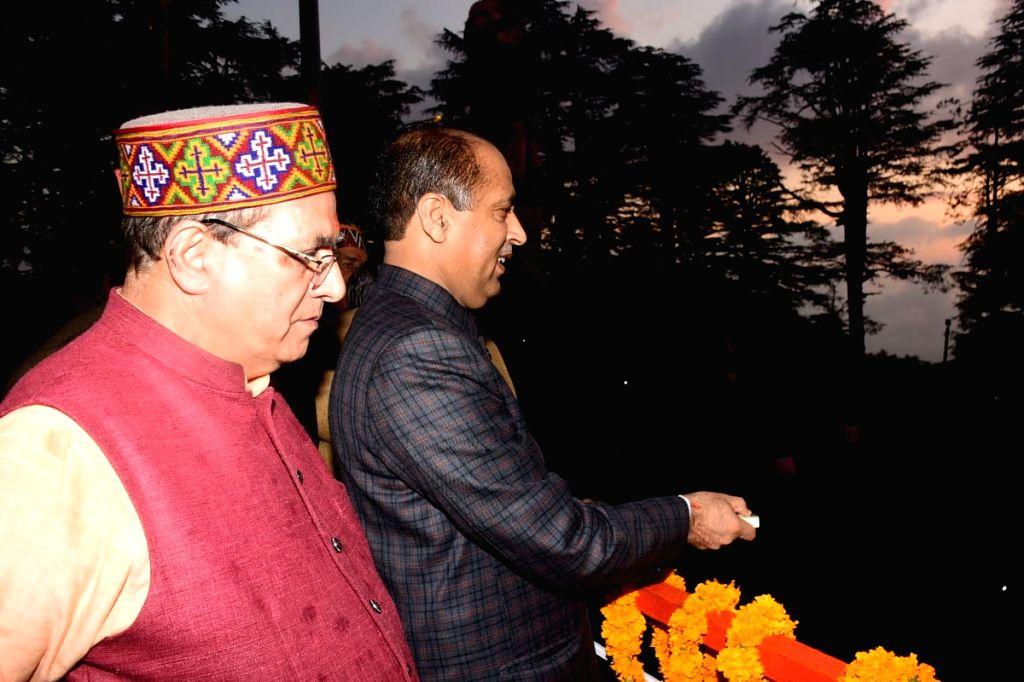 Himachal Pradesh Chief Minister Jai Ram Thakur and Education Minister Suresh Bhardwaj during Dussehra celebrations at Jakhu Temple in Shimla on Oct 8, 2019. - Jai Ram Thakur and Suresh Bhardwaj