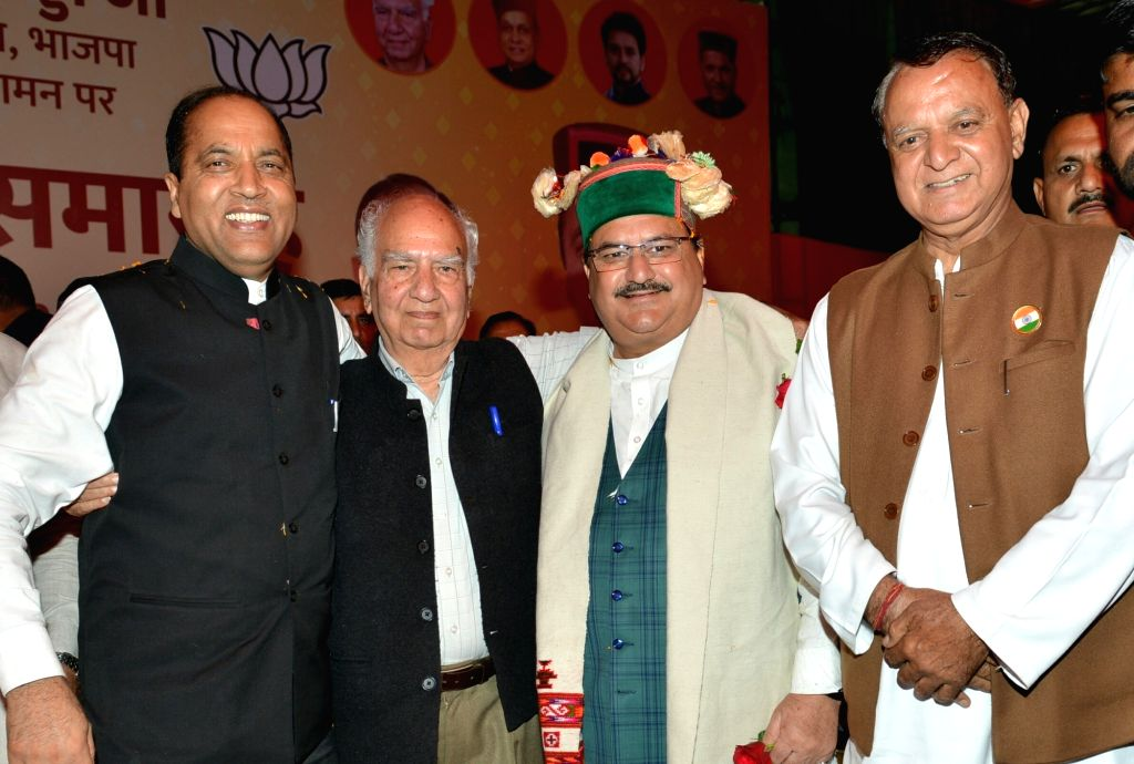 Himachal Pradesh Chief Minister Jai Ram Thakur and BJP National Working President J.P. Nadda receive warm welcome from party workers on their arrival for 'Abhinandan Samaroh' organised to ... - Jai Ram Thakur