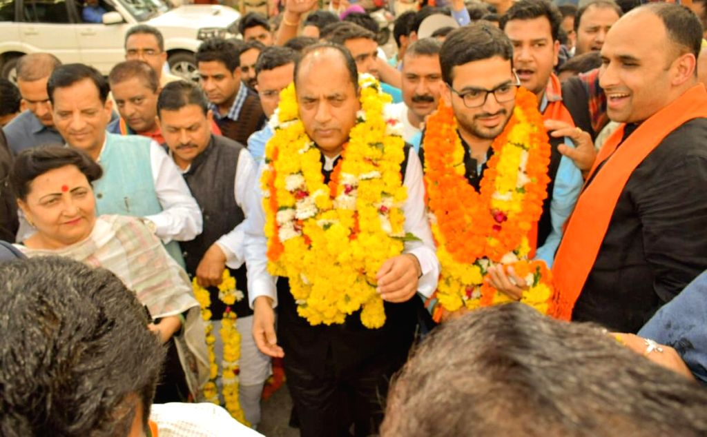 Himachal Pradesh Chief Minister Jai Ram Thakur with BJP's candidate for the Dharamsala by-elections, Vishal Nehriya duirng an election rally in Dharamsala on Oct 11, 2019. - Jai Ram Thakur