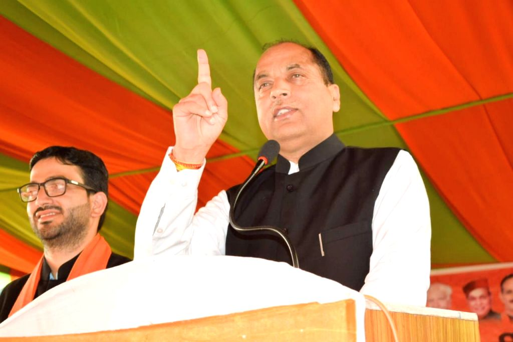 Himachal Pradesh Chief Minister Jai Ram Thakur addresses an election rally in support of BJP's candidate for the Dharamsala by-elections, Vishal Nehriya, in Dharamsala on Oct 11, 2019. - Jai Ram Thakur