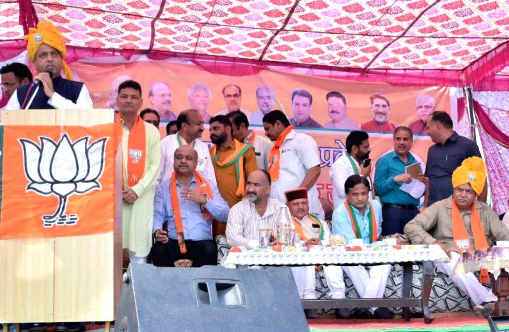 Himachal Pradesh Chief Minister Jai Ram Thakur addresses during an election rally ahead of state assembly polls at Barwala in Haryana's Panchkula, on Oct 16, 2019. - Jai Ram Thakur