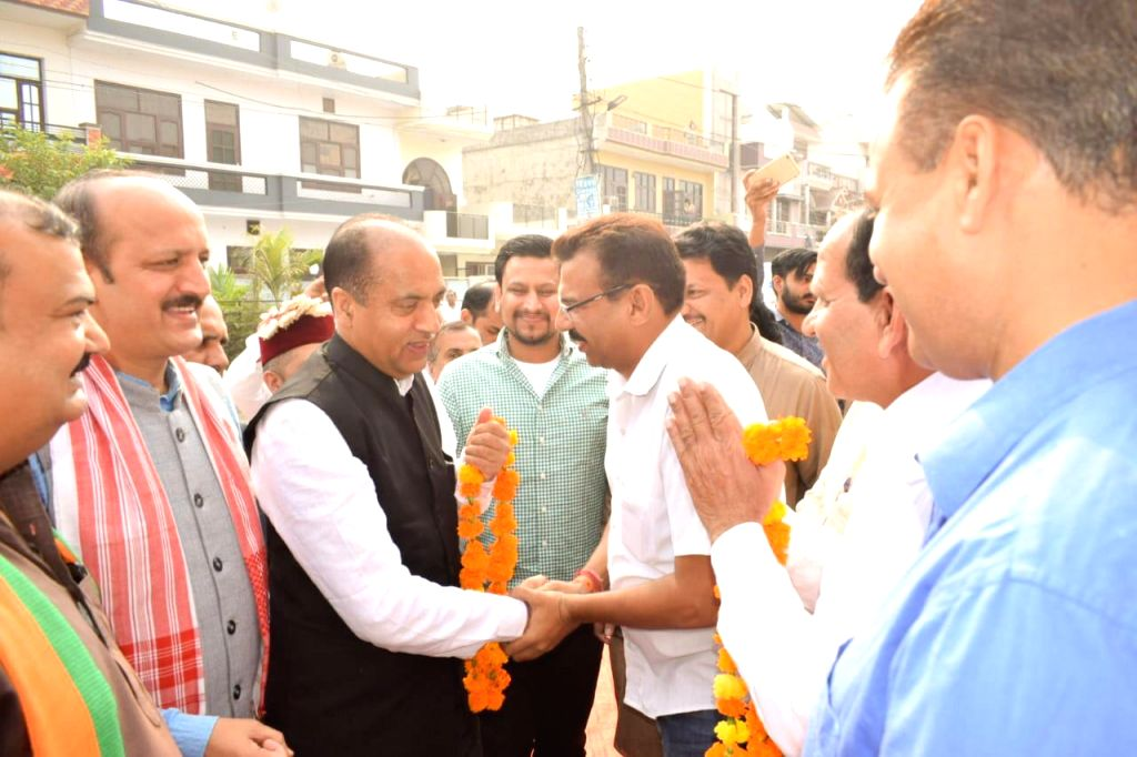 Himachal Pradesh Chief Minister Jai Ram Thakur campaigns for BJP candidate from Ladwa assembly constituency Pawan Saini ahead of Haryana Assembly polls, in Mathana on Oct 17, 2019. - Jai Ram Thakur