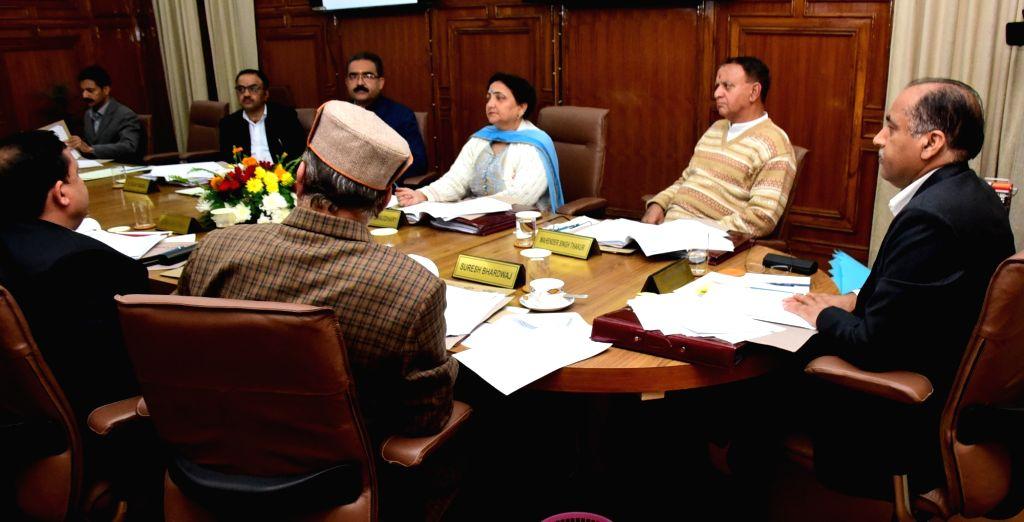 Himachal Pradesh Chief Minister Jai Ram Thakur presides over a Cabinet meeting in Shimla on Oct 25, 2019. - Jai Ram Thakur