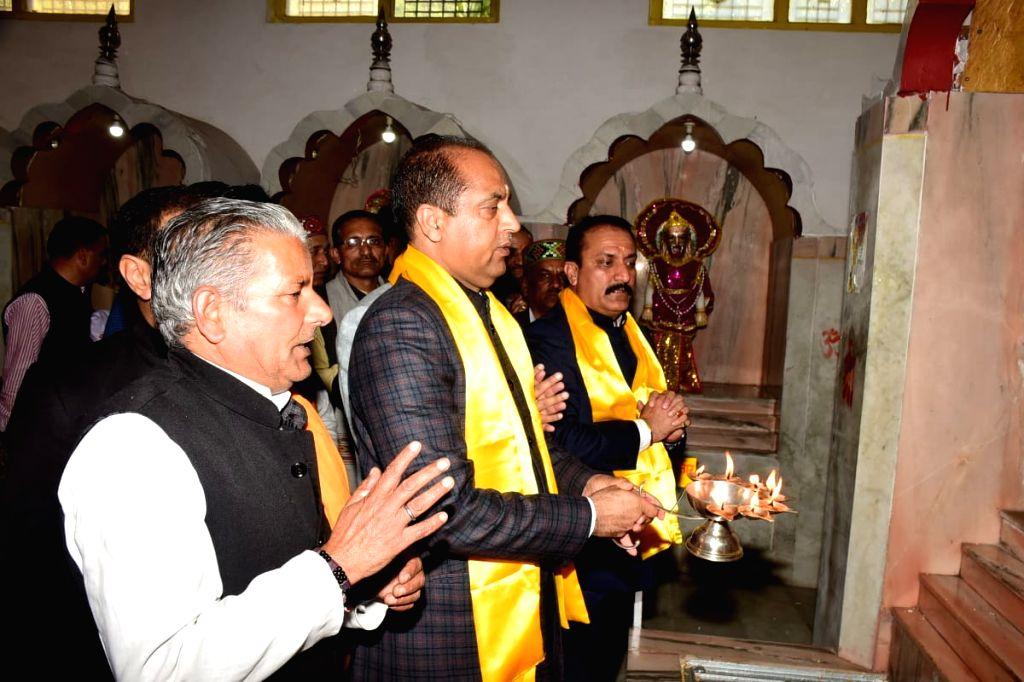 Himachal Pradesh Chief Minister Jai Ram Thakur offers prayers at Lord Parshuram temple and Mata Renuka ji temple in Sirmour district on Nov 12, 2019. - Jai Ram Thakur