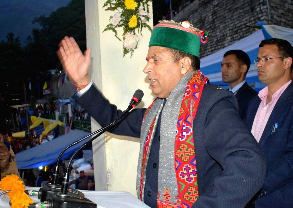 Himachal Pradesh Chief Minister Jai Ram Thakur addresses during the closing ceremony of International Lavi fair at Rampur Bushahr in Shimla on Nov 14, 2019. - Jai Ram Thakur