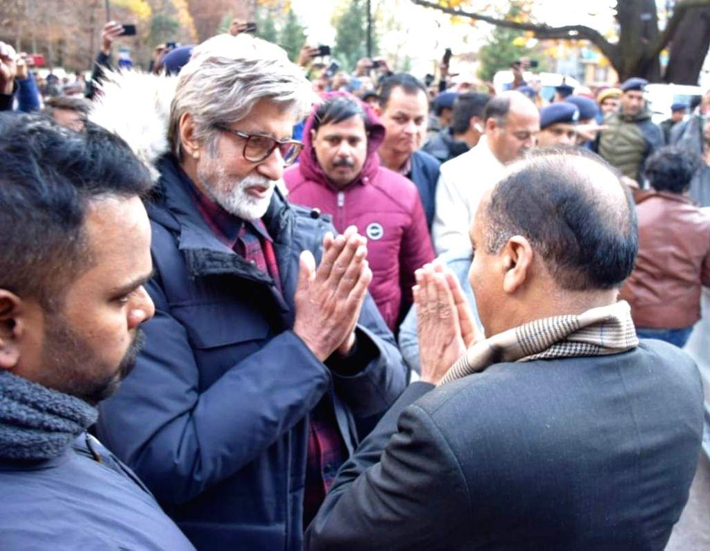 Himachal Pradesh Chief Minister Jai Ram Thakur and actor Amitabh Bachchan in Manali on Dec 1, 2019. - Jai Ram Thakur and Amitabh Bachchan