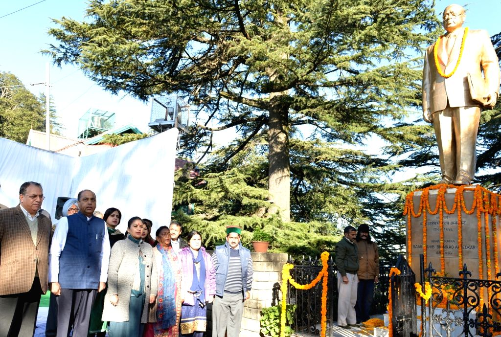 Himachal Pradesh Chief Minister Jai Ram Thakur pays tributes to Dr B.R. Ambedkar on his 64th death anniversary commemorated as Mahaparinirvan Diwas, at Ambedkar Chowk in Shimla on Dec 6, 2019. - Jai Ram Thakur