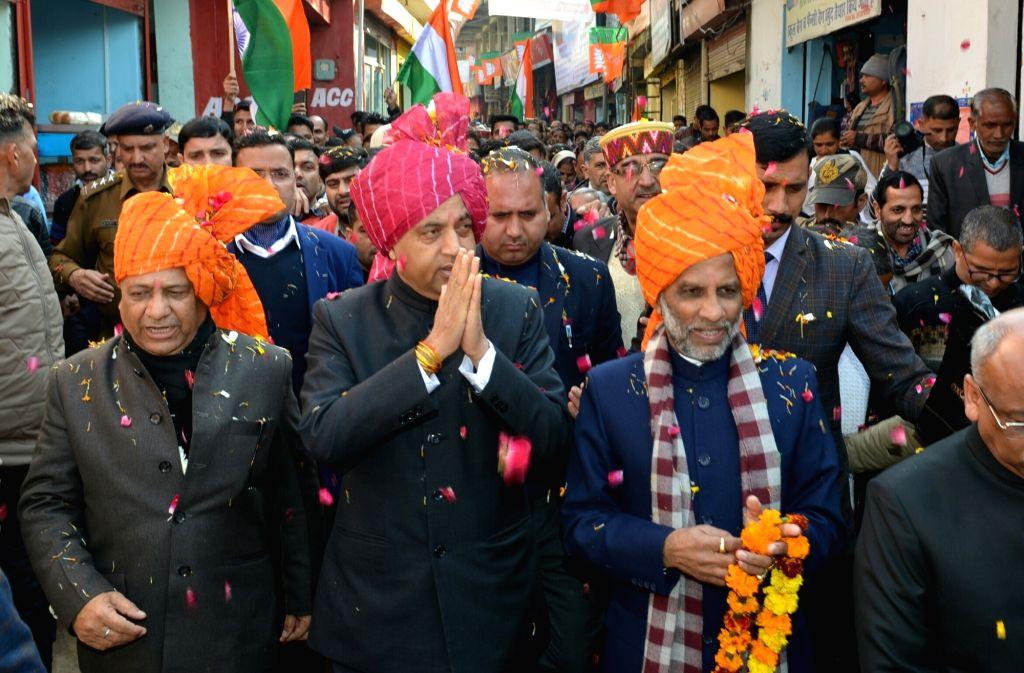 Himachal Pradesh Chief Minister Jai Ram Thakur during the 50th Statehood Day celebrations at Jhandutta in Bilaspur district on Jan 25, 2020. - Jai Ram Thakur