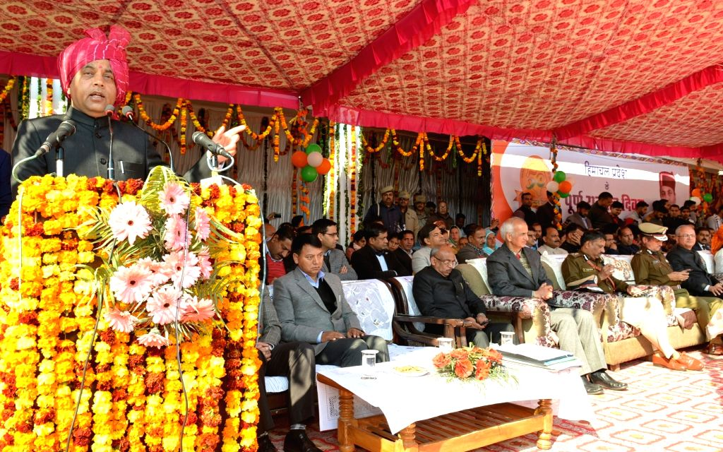 Himachal Pradesh Chief Minister Jai Ram Thakur addresses during the 50th Statehood Day celebrations at Jhandutta in Bilaspur district on Jan 25, 2020. - Jai Ram Thakur