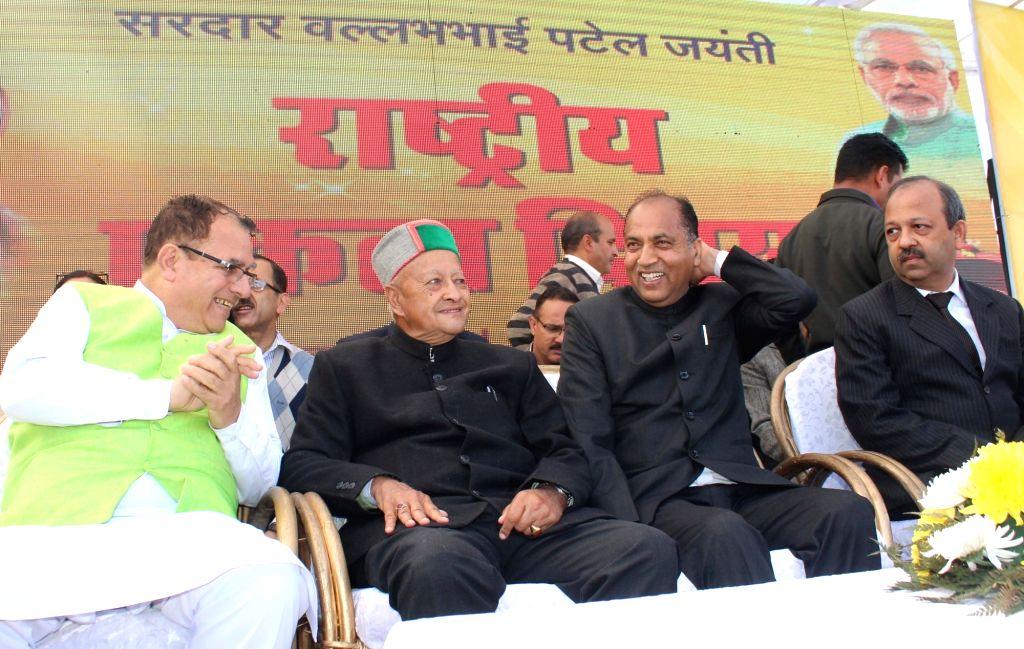Himachal Pradesh Chief Minister Jairam Thakur and Former Himachal Pradesh Chief Minister Virbhadra Singh during a programme organised on Rashtriya Ekta Divas in Shimla on Oct 31, 2018. - Jairam Thakur and Virbhadra Singh